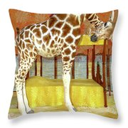 Ms Kitty And Her Giraffe  Throw Pillow