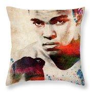 Muhammad Ali Watercolor Portrait Throw Pillow
