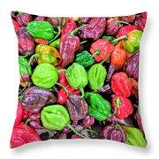 Multi Mini Hot Pepper Variety Throw Pillow