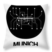 Munich Black Subway Map Throw Pillow