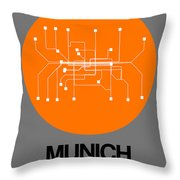 Munich Orange Subway Map Throw Pillow