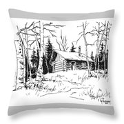 My Cabin In The Woods Throw Pillow