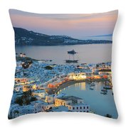 Mykonos Town At Sunset Mykonos Cyclades Greece  Throw Pillow