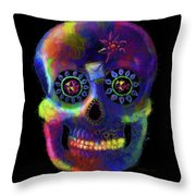 Mystico Sugarskull Of Letters Throw Pillow