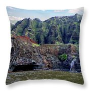 Napali Cave And Waterfall Throw Pillow