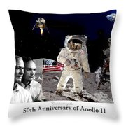 Nasa 50th Anniversary Of The Apollo 11 Lunar Landing By Artist Todd Krasovetz Throw Pillow