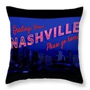 Nashville Postcard Throw Pillow