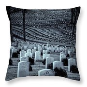 National Cemetery In Black And White Throw Pillow by Tom Singleton