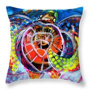 Neon Sea Turtle Wake And Drag Throw Pillow