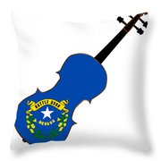 Nevada State Fiddle Throw Pillow