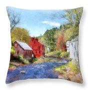 New Boston New Hampshire Watercolor Throw Pillow