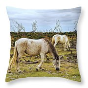 New Forest Ponies On The Heath Throw Pillow