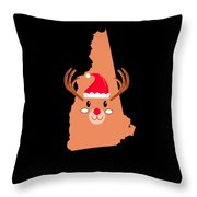 New Hampshire Christmas Antler Red Nose Reindeer Throw Pillow