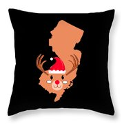 New Jersey Christmas Hat Antler Red Nose Reindeer Throw Pillow
