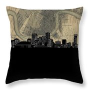 New Orleans Skyline Map Throw Pillow