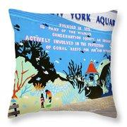 New York Aquarium, Coney Island, Brooklyn, New York Throw Pillow