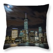 New York City Skyline At Night Throw Pillow