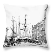 New York Docks, 1856 Throw Pillow
