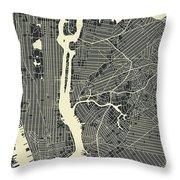 New York Map 3 Throw Pillow