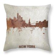 New York Rust Skyline Throw Pillow