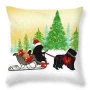 Newfoundland Dog Christmas Throw Pillow