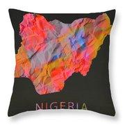 Nigeria Tie Dye Country Map Throw Pillow