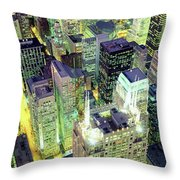 Night, Chicago, Illinois, Usa Throw Pillow