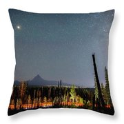 Night On Santiam Pass Throw Pillow