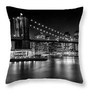 Night Skyline Manhattan Brooklyn Bridge Bw Throw Pillow