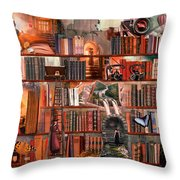 Nighttime Mystery Writers Throw Pillow by Debra and Dave Vanderlaan