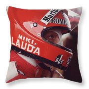 Niki Lauda. 1976 United States Grand Prix Throw Pillow