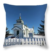 Ninilchik Russian Orthodox Church Throw Pillow