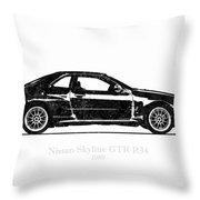 Nissan Skyline Gt-r R34 1989 Black And White Illustration Throw Pillow