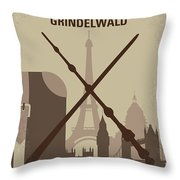 No1042 My The Crimes Of Grindelwald Minimal Movie Poster Throw Pillow