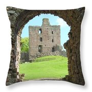 Norham Castle And Entrance Gate Throw Pillow