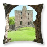Norham Castle And Tower Through The Entrance Gate Throw Pillow