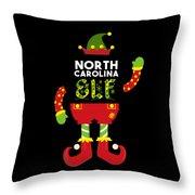 North Carolina Elf Xmas Elf Santa Helper Christmas Throw Pillow