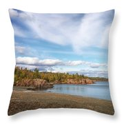 North Shore Black Beach Throw Pillow by Susan Rissi Tregoning