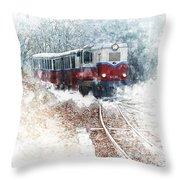 Northern European Train Throw Pillow