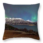 Northern Lights Over Grytoya Throw Pillow