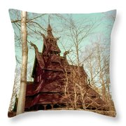 Norwegian Stave Church Throw Pillow