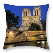 Notre Dame Cathedral Evening Throw Pillow by Jemmy Archer