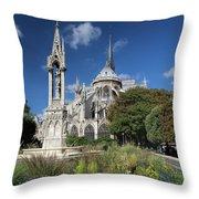 Notre Dame Garden Throw Pillow by Jemmy Archer