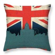 Nottingham England City Skyline Flag Throw Pillow
