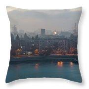 Novi Sad Night Cityscape Throw Pillow