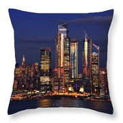 Nyc Sundown Gold And Twilight Skies Throw Pillow
