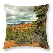 Oak Creek Baldwin Trail Blue Sky Clouds Red Rocks Scrub Vegetation Tree 0249 Throw Pillow