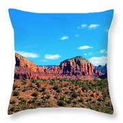 Oak Creek Jack's Canyon Blue Sky Clouds Red Rock 0228 3 Throw Pillow