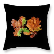 Oak Leaves And Acorns On Black Throw Pillow