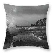 Ocean Splash In Black And White Throw Pillow